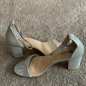 Shoes - NWT Silver Block Heels